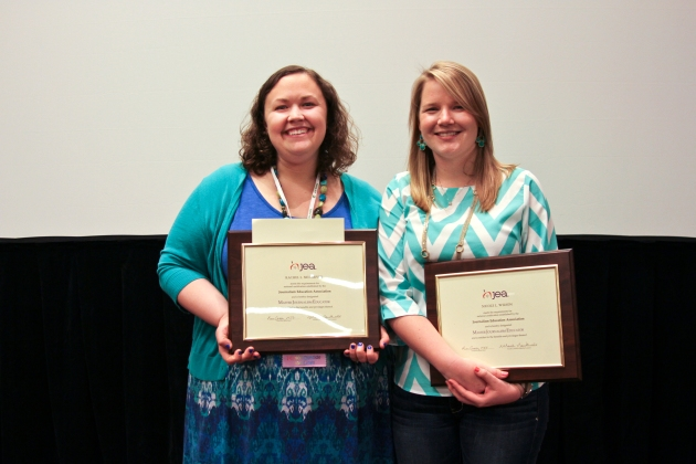 Rachel McCarver, Columbus North High School media adviser, and Nicole Wilson, Carmel High School yearbook adviser, receive MJE certification at the JEA San Francisco awards banquet.