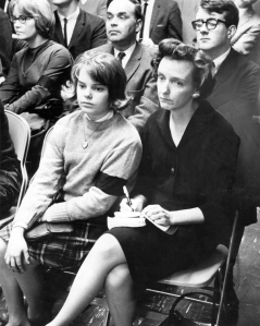 Mary Beth Tinker sits with her mother at a school board meeting during the time of the Tinker vs. Des Moines case.
