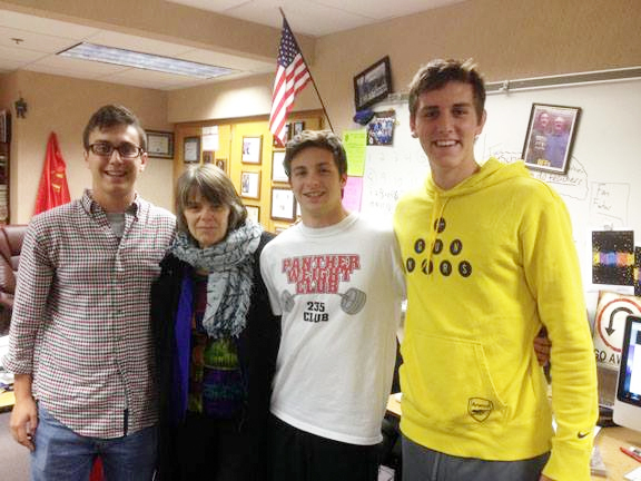 Mary Beth Tinker met the three North Central editors-in-chief, Max Freeman, Trevor Shirley, and Danny Kleschick when she visited North Central High School in October.