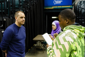 Frank Vogel, Indiana Pacers Head Coach is interviewed by Indiana High School Press Association award winners, Carrington Smith, Pike High School and Alaa Aldeeldaien, Crown Point Hight School.