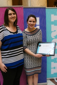 Lydia Gerike with Melissa Deavers-Lowie, Portage High School publications adviser. Photo by Clark Hadley | IHSPA