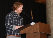 Keynote speaker Jon Webb, Evansville Courier & Press. Photo by Leslie Velez, Pike HS