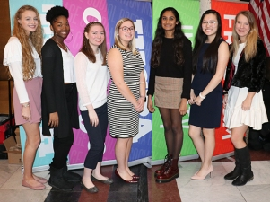 (left to right) IHSPA Student Board members Haley Pritchett, Greenwood Community HS; Brianna Brown, Pike HS; Haley Miller, Southport HS; Peighton Noel, Mooresville HS; Anu Nattam, Plainfield HS; Betty Huang, Highland HS; Emma Uber, Carmel HS. Photo by Leslie Velez, Pike HS