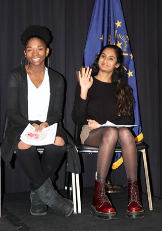 (left to right) Brianna Brown, Pike HS; Anu Nattam, Plainfield HS. Photo by Leslie Velez, Pike HS